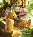 1girl blush dress dropping flower green_eyes green_hair hair_flower hair_ornament hanging_from_tree kabocha kanaria long_sleeves open_mouth outstretched_arm outstretched_hand pants_under_dress parasol rozen_maiden solo tears tree umbrella underwear wavy_mouth wide_sleeves yellow_dress