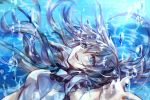 1girl blue_eyes brown_hair bubble long_hair looking_at_viewer madogawa original smile solo underwater water