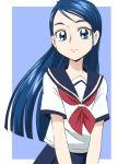 1girl blue_eyes blue_hair eyelashes happy long_hair looking_at_viewer manji_(tenketsu) minazuki_karen precure school_uniform serafuku skirt smile solo yes!_precure_5