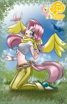 1girl bird blue_eyes bracelet butterfly copyright_name cutie_mark fluttershy highres jewelry kneeling logo long_hair mauroz midriff my_little_pony my_little_pony_friendship_is_magic navel open_mouth personification pink_hair pony scraf sky solo tagme tied_shirt