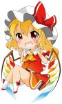 1girl berry_jou blonde_hair blush bow chibi double_v fang flandre_scarlet hat hat_bow looking_at_viewer mob_cap open_mouth red_eyes shirt side_ponytail simple_background skirt skirt_set smile solo touhou v vest white_background wings
