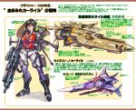 1girl aiming_at_viewer assault_rifle blue_eyes bodysuit boots breasts brown_hair cannon crusher_joe energy_gun glasses goggles goggles_on_head gun headgear highres jetpack lips long_hair looking_at_viewer ray_gun realistic redesign rifle rocket_launcher science_fiction space_craft starfighter translation_request ukatsu_juuzou uniform vest weapon