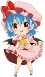 1girl ascot bat_wings berry_jou blue_hair blush bow chibi dress flandre_scarlet hat hat_bow looking_at_viewer mob_cap pink_dress pointy_ears red_eyes simple_background smile solo tongue tongue_out touhou v white_background wings wrist_cuffs