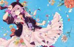 1girl animal_ears dress flower hooded_jacket paint purple_hair puzzle_piece rabbit_ears shiratsuyu solo violet_eyes vocaloid yuzuki_yukari