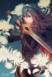 1girl blue_eyes blue_hair cape fingerless_gloves finni_chang fire_emblem fire_emblem:_kakusei gloves long_hair lucina nintendo tiara
