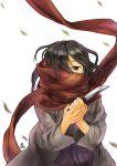 1girl black_eyes black_hair knife mikasa_ackerman one-eyed scarf shingeki_no_kyojin short_hair solo tora_jun young