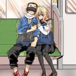 1boy 1girl black_legwear blonde_hair blush breasts contemporary couple digital_media_player earphones hat hjm ipod kyoukai_senjou_no_horizon large_breasts long_hair mary_stuart scar scarf school_uniform serafuku tenzou_crossunite