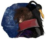 1boy bird brown_hair harlock male mosako scar uchuu_kaizoku_captain_harlock