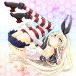 1girl anchor black_panties blonde_hair blush elbow_gloves fujii_chifumi gloves grey_eyes hair_ornament hairband highres kantai_collection long_hair navel panties personification shimakaze_(kantai_collection) skirt solo striped striped_legwear thighhighs underwear white_gloves