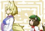 2girls animal_ears blonde_hair blush breasts brown_eyes brown_hair cat_ears cat_tail chen dress fang fox_ears fox_tail hands_in_sleeves jewelry juliet_sleeves kitsunetsu_(rcu_be1s) long_sleeves looking_at_another mob_cap multiple_girls multiple_tails no_hat open_mouth patterned_background puffy_sleeves short_hair side_glance single_earring smile tabard tail touhou vest yakumo_ran yellow_eyes