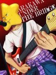 1boy arakawa_under_the_bridge clothes_around_waist dutch_angle electric_guitar guitar highres hoshi_(arakawa) instrument male microphone microphone_stand plaid plaid_shirt plectrum shirt_around_waist solo sonjousyou star strap sweatdrop t-shirt