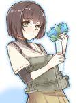 1girl brown_eyes brown_hair flower holding holding_flower hyuuga_(kantai_collection) japanese_clothes kantai_collection mecha_musume personification rough short_hair solo yukityasoba