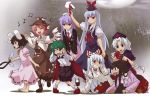 6+girls akuto animal_ears antennae armband bamboo bamboo_forest barefoot bird_wings black_hair blue_eyes blue_hair cape carrot collar covering_ears dress dress_shirt ear_grab expressionless eye_contact facing_away forest fujiwara_no_mokou full_moon green_eyes green_hair grin hand_on_own_chest hat hat_ribbon houraisan_kaguya imperishable_night inaba_tewi japanese_clothes jewelry juliet_sleeves kamishirasawa_keine kneeling leash lifting long_hair long_sleeves looking_at_another moon multiple_girls musical_note mystia_lorelei nature necktie nurse_cap o3o open_mouth pants pantyhose pendant pink_dress pink_hair puffy_short_sleeves puffy_sleeves purple_hair rabbit_ears raised_hand red_eyes reisen_udongein_inaba ribbon shadow shirt short_hair short_sleeves shorts silver_hair singing smile snarl suit_jacket suspenders touhou wink wriggle_nightbug yagokoro_eirin