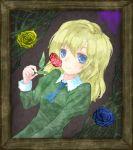 1girl blonde_hair blue_eyes blue_rose dress flower ib long_hair mary_(ib) picture_frame red_rose rose solo sorara vines yellow_rose