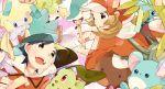 1boy 1girl aipom black_hair brown_hair chikorita gold_(pokemon) hagiko hat jirachi kotone_(pokemon) marill pichu pokemon pokemon_(creature) shaymin totodile wooper