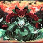 animal_ears ast blue_fire bone bow braid cat_ears cat_tail dress fire green_dress hair_bow highres kaenbyou_rin looking_at_viewer multiple_tails pile_of_skulls red_eyes redhead skull tail touhou twin_braids wisps