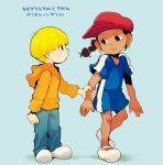 1boy 1girl abigail_lincoln arm_grab black_hair blonde_hair blue_background bowl_cut braid child clenched_hand codename:_kids_next_door dark_skin earrings eye_contact frown hat hoodie jewelry looking_at_another standing t_k_g translation_request wallabee_beetles