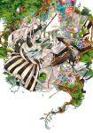 bandage bandages bird canvas dress nature oekaki_musume original paintbrush painting pink_hair shinsaibashih solo tree