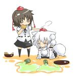 :> =_= animal_ears blush brown_hair chibi hat inubashiri_momiji o_o petting shameimaru_aya short_hair spill tail tears tokin_hat touhou viva!! white_hair wolf_ears wolf_tail