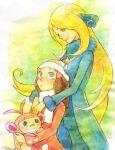 2girls age_difference ambipom bad_id hat height_difference hikari_(pokemon) multiple_girls pokemon pokemon_(creature) pokemon_(game) pokemon_dppt shirona_(pokemon) yuri