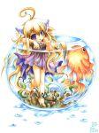 ahoge animal_ears barefoot blonde_hair bowl cat_ears cat_tail emperpep feet fish goldfish long_hair purple_eyes solo tail toes traditional_media violet_eyes watercolor_(medium) wet