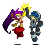 1boy 1girl beck_(mighty_no._9) blue_eyes choker company_connection crossover dark_skin earrings green_eyes hair_tubes harem_pants high_five hoop_earrings jewelry jumping long_hair matt_bozon midriff mighty_no._9 official_art pointy_ears ponytail purple_hair robot shantae shantae_(character) tiara very_long_hair wink