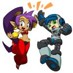 1boy 1girl beck_(mighty_no._9) company_connection crossover dark_skin earrings green_eyes hair_tubes harem_pants high_five highres hoop_earrings jewelry long_hair midriff mighty_no._9 official_art pointy_ears ponytail purple_hair robot shantae shantae_(character) tiara transparent_background very_long_hair yabe_makoto