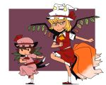2girls animal_ears ascot bat_wings blonde_hair brown_hair cat_ears cat_tail chen dress fake_wings flandre_scarlet_(cosplay) fox_tail hat hat_ribbon hat_with_ears looking_at_viewer mob_cap multiple_girls multiple_tails onikobe_rin pink_dress posing remilia_scarlet_(cosplay) ribbon sash shirt short_sleeves skirt skirt_set smile standing_on_one_leg tail touhou vest wings yakumo_ran yellow_eyes