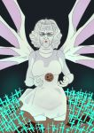 1girl cookie cookie_clicker cross dress end_of_evangelion food glasses grandma_(cookie_clicker) isono_tara lilith_(ayanami_rei) old_woman parody red_eyes solo white_dress white_hair white_skin wings