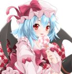 1girl bat_wings blue_hair bow candy fang hat hat_ribbon highres juliet_sleeves knee_up licking lollipop long_sleeves looking_at_viewer mob_cap pillow puffy_sleeves red_eyes remilia_scarlet ribbon sash shadow short_hair simple_background sinnosuke skirt skirt_set solo swirl_lollipop thighhighs tongue tongue_out touhou white_background wings