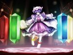 1girl book bow crescent dress floating floating_book floating_object frills glowing hat long_hair magic_circle nishi_masakazu open_book outstretched_arms patchouli_knowledge philosopher's_stone purple_hair ribbon shoe_ribbon shoes smile solo touhou violet_eyes