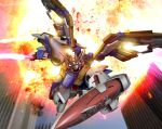 beam_saber energy_sword explosion glowing gundam gundam_wing hiropon_(tasogare_no_puu) mecha no_humans realistic science_fiction shield sword weapon wing_gundam wings