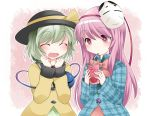 2girls blush bow closed_eyes dress_shirt drink drinking eyeball green_hair hammer_(sunset_beach) happy hat hat_ribbon hata_no_kokoro komeiji_koishi long_hair long_sleeves mask multiple_girls noh_mask open_mouth pink_eyes pink_hair plaid plaid_shirt ribbon shirt short_hair simple_background smile string third_eye touhou