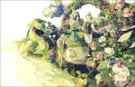 1boy 2girls apron bellossom black_hair budew cake chair cherrim cherubi cup dent_(pokemon) drinking erika_(pokemon) flower food gloom green_hair headband japanese_clothes jumpluff kimono maractus multiple_girls natane_(pokemon) oddish orange_hair pansage petilil pokemon pokemon_(game) pokemon_bw pokemon_dppt pokemon_hgss red_rose rose roserade saucer shorts sitting sunkern swadloon table tangela tea teacup teapot torterra tray turtwig whimsicott yuuichi_(bobobo)