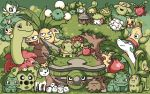 bellossom budew bulbasaur cacnea celebi cherubi chikorita clouds cottonee creature deerling exeggcute exeggutor fangs flower grass green green_eyes grin hoppip horn ivysaur jumpluff leafeon looking_at_another looking_at_viewer meganium no_humans oddish open_mouth pansage paul_robertson petilil pixel_art pokemon pokemon_(creature) red_eyes seedot serperior shaymin shroomish sitting skiploom smile stacking standing sunkern swadloon torterra tree treecko turtwig weepinbell