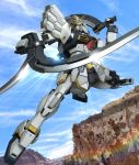 clouds gundam gundam_sandrock gundam_wing hiropon_(tasogare_no_puu) lens_flare mecha no_humans realistic science_fiction sword weapon
