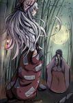 2girls bamboo bamboo_forest black_hair blue_eyes bow fire flame forest fujiwara_no_mokou glowing glowing_eyes hair_bow hand_in_pocket houraisan_kaguya long_hair moon multiple_girls nature pants red_eyes silver_hair smirk touhou weapon weather_(hamamurataka)