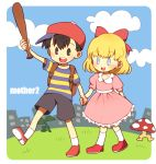 ako_(pixiv1850596) backpack bag baseball_bat black_eyes black_hair blonde_hair blue_eyes hat holding_hands mother_(game) mother_2 mushroom ness nintendo paula_polestar ribbon smile