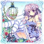 1girl bare_arms bare_shoulders birdcage blue_dress bow breasts cage cleavage collarbone dress elaborate_frame flower frame hair_flower hair_ornament leg_ribbon long_hair looking_at_viewer nanaroba_hana outstretched_arm outstretched_hand panties pantyshot pantyshot_(sitting) petals purple_hair red_rose rose sitting smile solo strapless_dress striped striped_legwear thighhighs underwear very_long_hair violet_eyes white_panties wrist_cuffs zettai_ryouiki