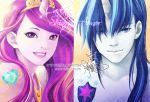 1boy 1girl artist_name blue_eyes blue_hair blue_skin cadence_(my_little_pony) character_name horn humanization jewelry lips long_hair looking_at_viewer multicolored_hair parted_lips personification princess_mi_amore_cadenza shining_armor signature smile tagme two-tone_hair violet_eyes watermark web_address zelda_c_wang