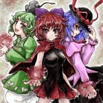 3girls blouse blue_hair bow breasts cape capelet dress energy_ball ghost_tail gradient gradient_background green_eyes green_hair hair_bow hat hat_ribbon hat_tug light_smile long_sleeves looking_at_viewer multiple_girls nagae_iku nanashii_(soregasisan) ofuda open_mouth parted_lips pleated_skirt red_eyes redhead ribbon sekibanki short_hair side_glance skirt soga_no_tojiko tate_eboshi touhou