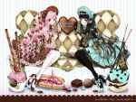 2girls argyle black_gloves black_hair black_legwear blue_eyes bow cake chocolate chocolate_heart couch cream cupcake dessert dress food frills gem gloves hair_ribbon headdress heart high_heels highres hime_cut jewelry long_hair looking_at_viewer multiple_girls original pantyhose petticoat pink_hair polka_dot polka_dot_dress ribbon ring shiitake_(gensoudou) sitting smile valentine violet_eyes white_gloves white_legwear