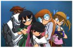 1boy 4girls adult bangs black_eyes black_hair bleedman blossom_(ppg) blue_background blue_eyes blunt_bangs bow bubbles_(ppg) buttercup_(ppg) cartoon_network character_request courage_(character) courage_the_cowardly_dog crossover dexter dexter's_laboratory dog eyepatch glasses green_eyes grim_tales_from_down_below hair_bow hat labcoat long_hair looking_at_viewer multiple_girls pink_eyes pipe powerpuff_girls powerpuff_girls_doujinshi red_eyes scowl short_twintails siblings sisters smoking_pipe spoilers twintails