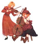 2girls aki_minoriko aki_shizuha blonde_hair boots brown_eyes cello colored_pencil_(medium) hair_ornament hat instrument leaf maple_leaf multiple_girls playing_instrument short_hair simple_background sitting smile stool terajin touhou traditional_media violin white_background