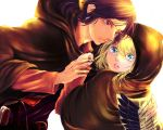 2girls black_eyes black_hair blonde_hair blue_eyes cape christa_renz don0074 fingernails holding holding_hands hood long_sleeves multiple_girls parted_lips shingeki_no_kyojin ymir_(shingeki_no_kyojin)