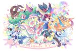 1boy 1girl absol blonde_hair blue_eyes brown_eyes calme_(pokemon) charizard dedenne doublade double flabebe fletchling furfrou gloves gogoat hat helioptile kokoroko mega_absol mega_charizard_y mega_mewtwo_y mega_pokemon meowstic mewtwo noivern pokemon pokemon_(creature) pokemon_(game) pokemon_xy serena_(pokemon) spritzee sunglasses sunglasses_on_head swirlix sylveon