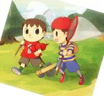 baseball_bat black_eyes brown_hair bug_net doubutsu_no_mori hat kusattemo mother_(game) mother_2 ness nintendo shovel smile super_smash_bros. villager_(doubutsu_no_mori) worktool