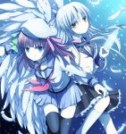 2girls angel_beats! back-to-back beret green_eyes gun hand_sonic hat long_hair multiple_girls purple_hair school_uniform serafuku short_hair silver_hair soranagi tenshi_(angel_beats!) thighhighs weapon wings yellow_eyes yuri_(angel_beats!)