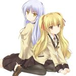 2girls angel_beats! back-to-back blazer blonde_hair blue_hair brown_eyes long_hair multiple_girls pantyhose satou_aoi school_uniform sitting tenshi_(angel_beats!) twintails wariza yellow_eyes yusa_(angel_beats!)
