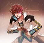 1boy angry asbel_lhant blue_eyes brown_background clenched_teeth coat collarbone glowing glowing_eye heterochromia keikilani male rain ready_to_draw redhead solo sword tales_of_(series) tales_of_graces violet_eyes watermark weapon web_address wet